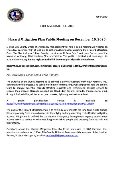 Public Notice for Public Meeting - 12.10.2020